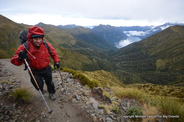 A trekker on the Kepler Track in New Zealand's Fiordland National Park.