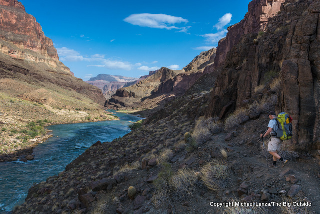 A backpacker along the Colorado River on the Grand Canyon's Thunder River-Deer Creek Loop.