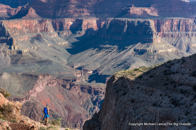 A hiker on the Grand Canyon's South Kaibab Trail during a 22-mile, rim-to-rim dayhike.