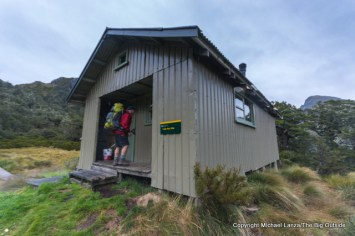 The Lake Roe Hut on the Dusky Track in Fiordland National Park, New Zealand.