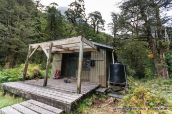 The Upper Spey Hut on the Dusky Track in New Zealand's Fiordland National Park.