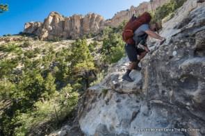 Chip Roser scrambling down the Bill Hall Trail, Grand Canyon.