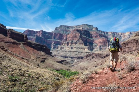 A backpacker on the higher Tapeats Creek Trail in the Grand Canyon.