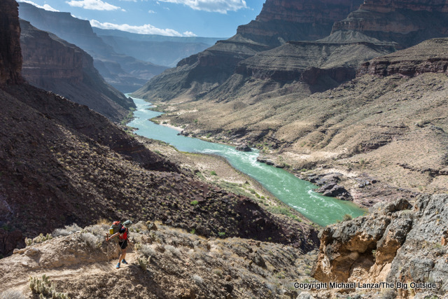 A backpacker on the Granite Narrows route in the Grand Canyon