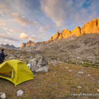 Backpackers in a campsite in Titcomb Basin, Wind River Range, Wyoming.