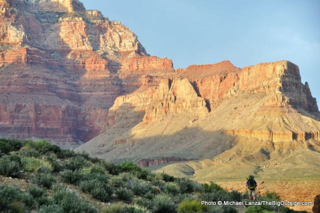 A backpacker on the Grand Canyon's Tonto East Trail.