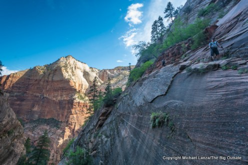 A hiker on the Hidden Canyon Trail in Zion National Park.