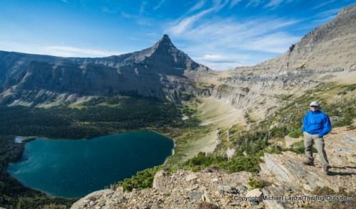 Michael Lanza at Pitamakan Pass during a 90-mile backpacking traverse of Glacier National Park.