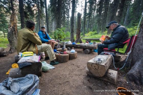 Backpackers at a campsite on Elizabeth Lake, Glacier National Park.