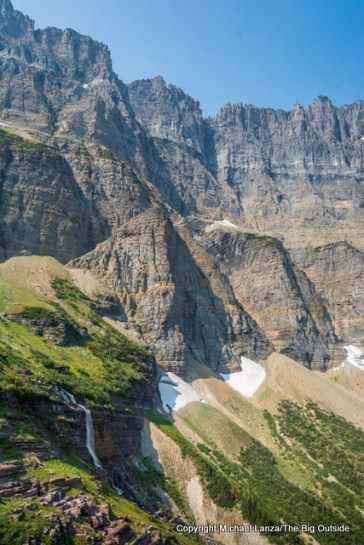 Morning Eagle Falls and the Garden Wall en route to Piegan Pass in Glacier.