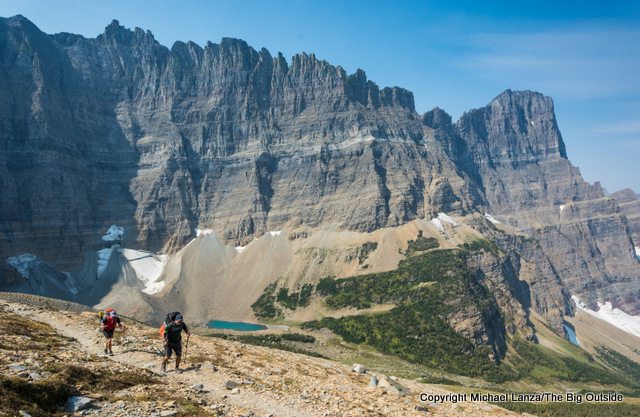 Backpackers on the Piegan Pass Trail in Glacier National Park.