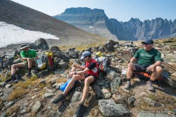Backpackers at Piegan Pass in Glacier National Park.