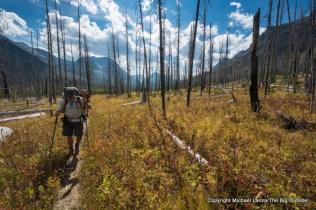 A backpacker hiking toward Red Eagle Lake, Glacier National Park.