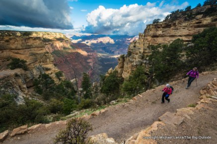 Hikers on the upper South Kaibab Trail, Grand Canyon.