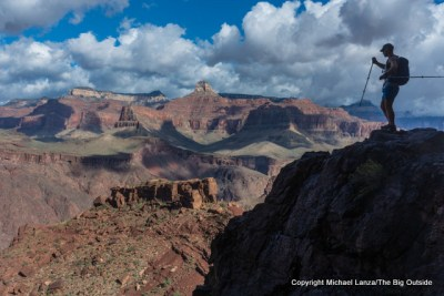 A hiker on the upper South Kaibab Trail, Grand Canyon.