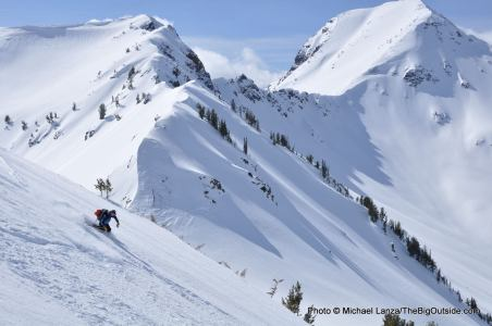 A backcountry skier in Oregon's Wallowa Mountains.