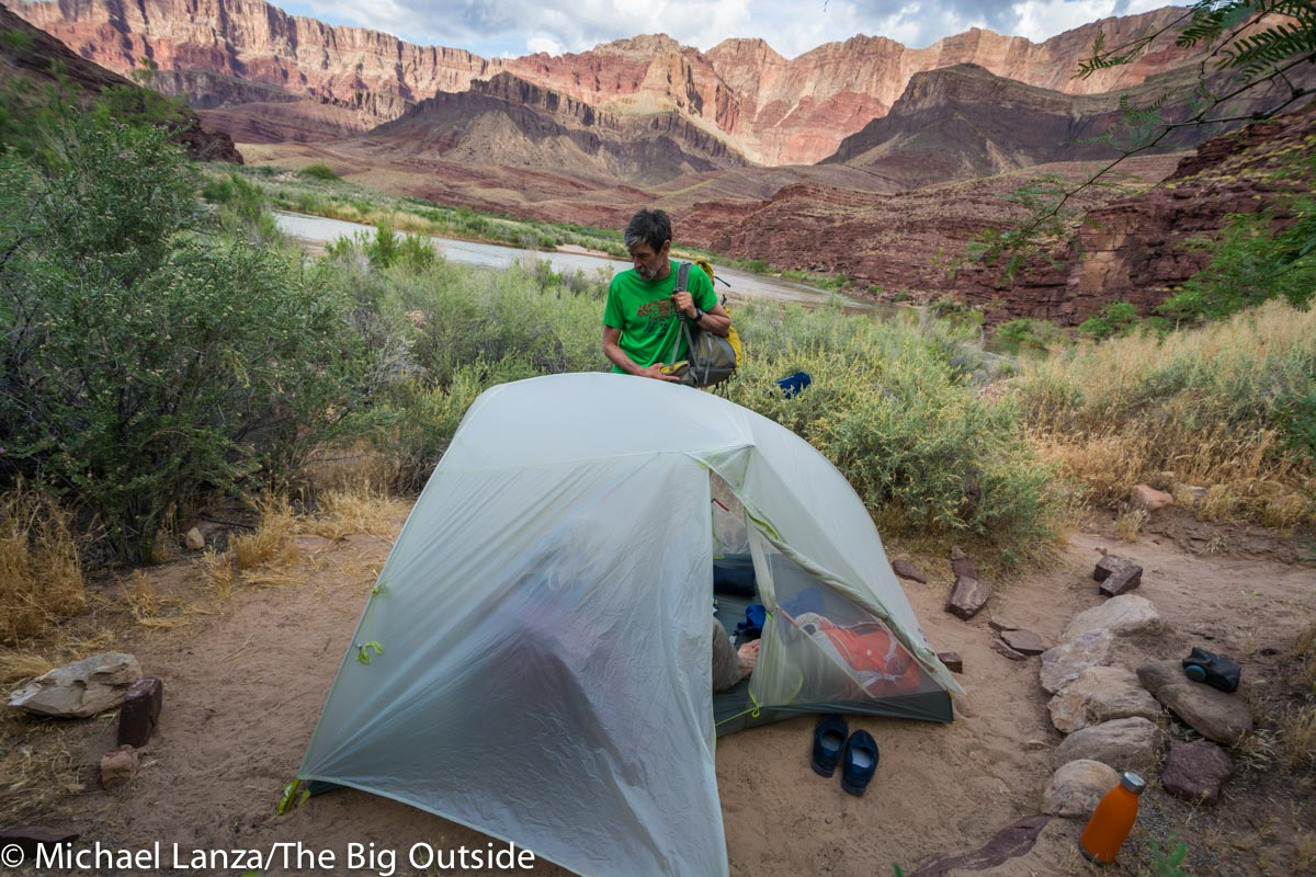 The Big Agnes Tiger Wall 2 Platinum ultralight backpacking tent in the Grand Canyon.