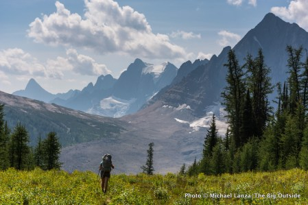 A backpacker on the Rockwall Trail, Kootenay National Park, Canada.