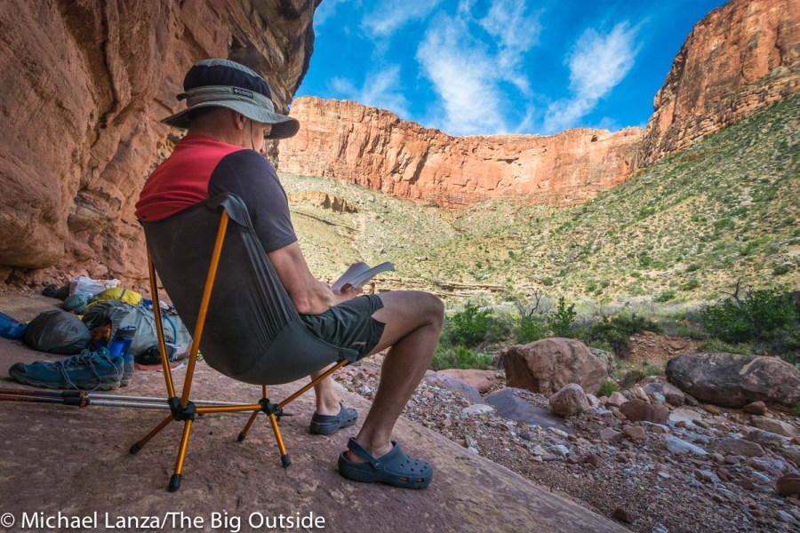 Testing the REI Flexlite camp chair in the Grand Canyon.