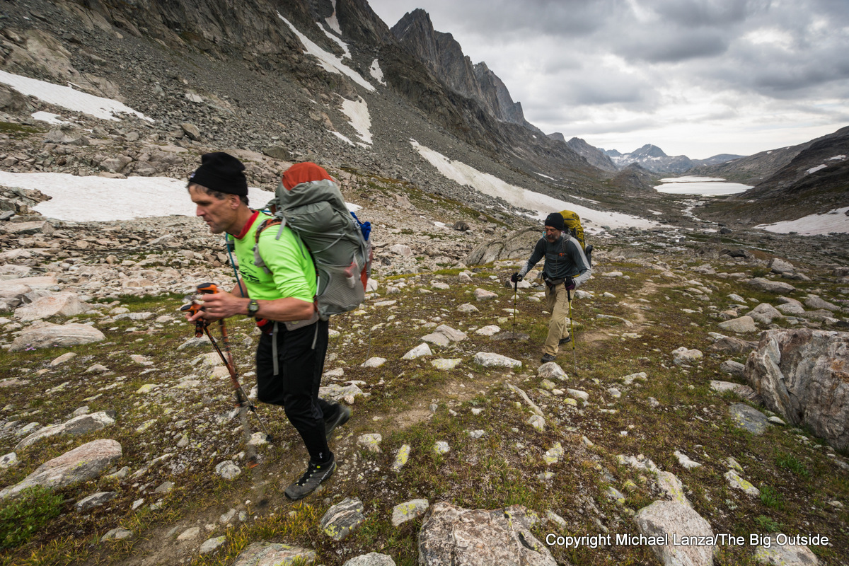 Backpackers in upper Titcomb Basin, Wind River Range, Wyoming.