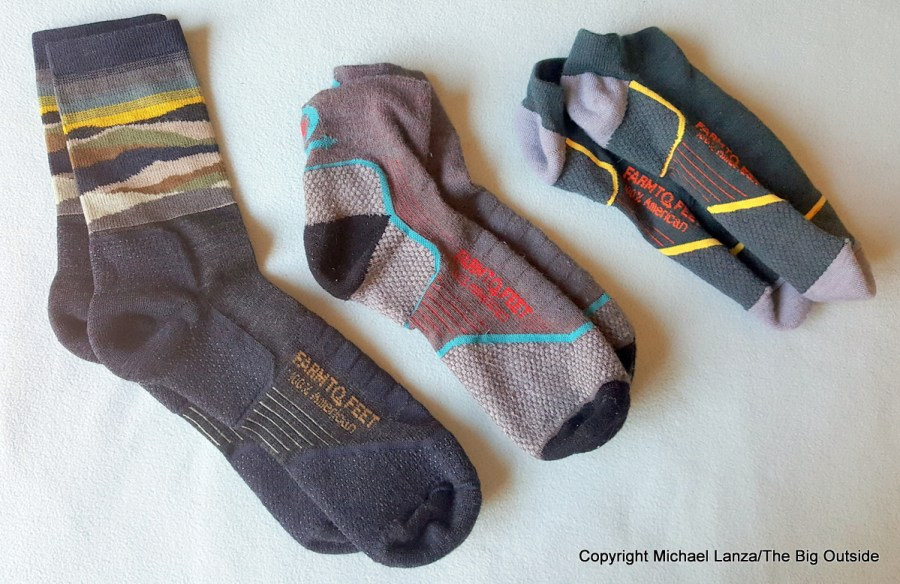 Farm to Feet Max Patch Lightweight Technical ¾ Crew, Damascus Lightweight Technical ¼ Crew, and Damascus Lightweight Technical Low socks.