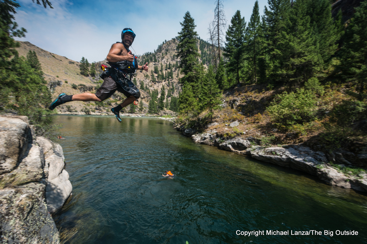 Cliff jumping on Idaho's Middle Fork Salmon River.