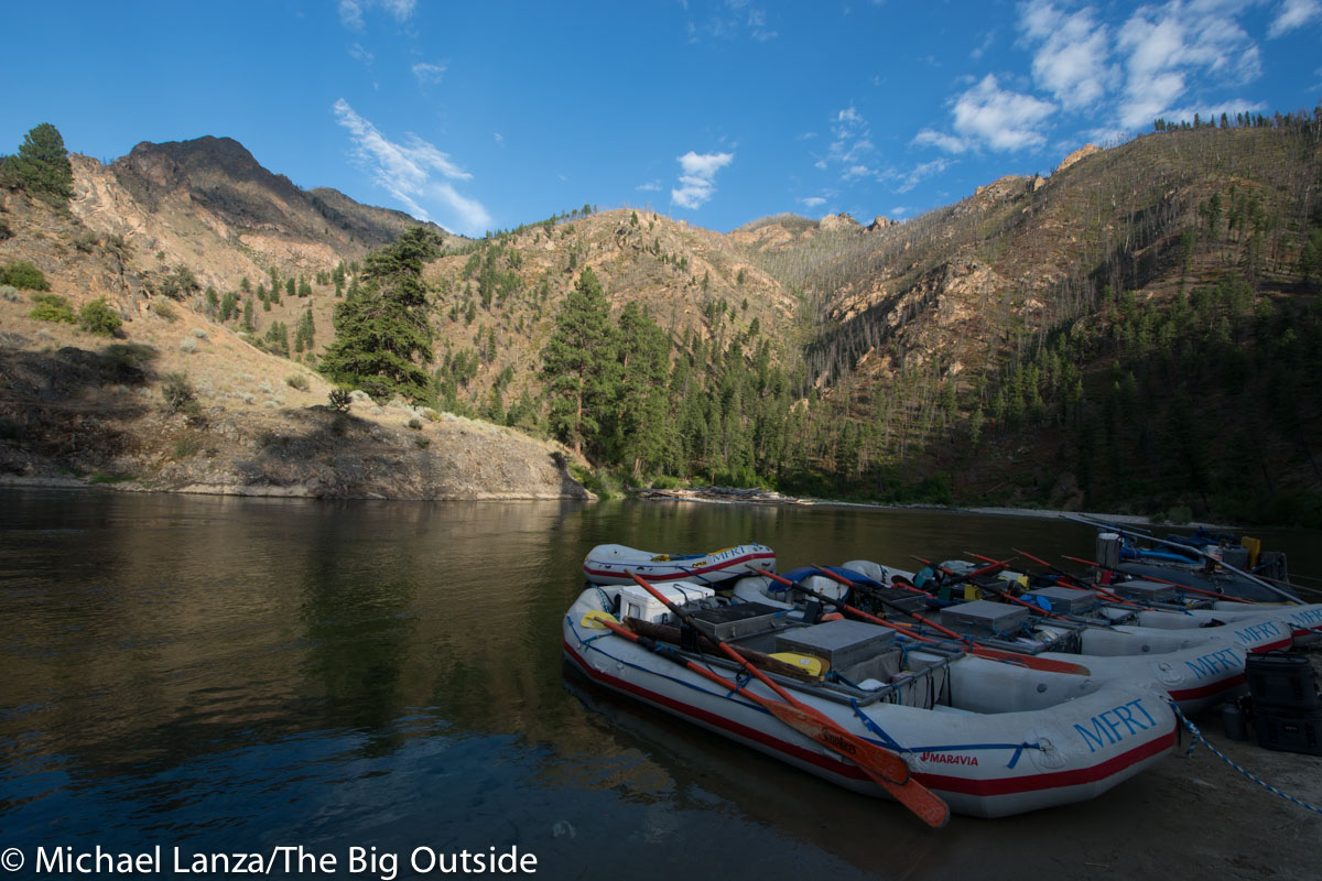 Rafts at a campsite on Idaho's Middle Fork Salmon River.