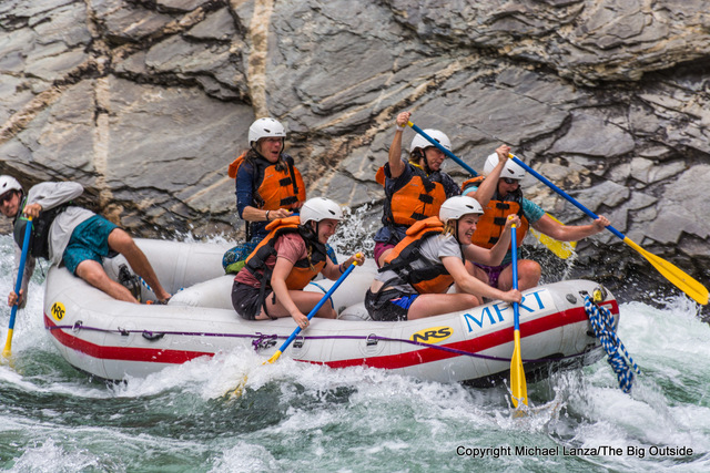 Rafters paddling Cliffside Rapid on Idaho's Middle Fork Salmon River.