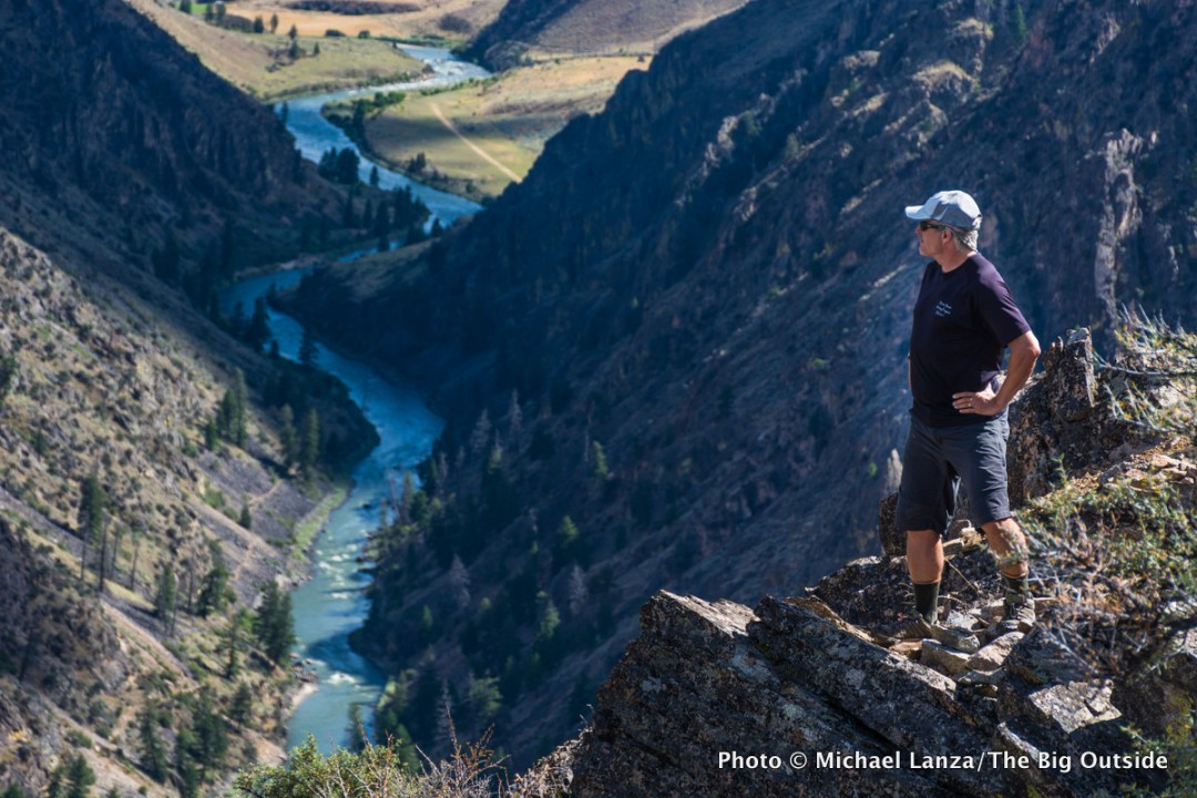 A hiker at Johnson Point, above the Middle Fork Salmon River in Idaho's Frank Church-River of No Return Wilderness.