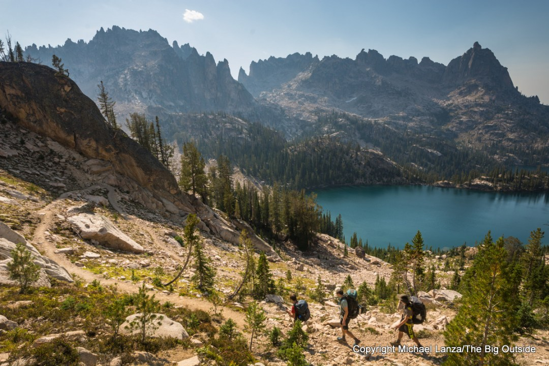 Teenage boys backpacking to the Baron Lakes in Idaho's Sawtooth Wilderness.