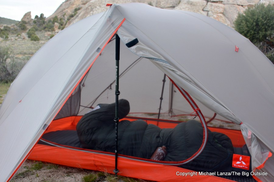 Slingfin Portal 2 with a trekking pole inserted for added stability.