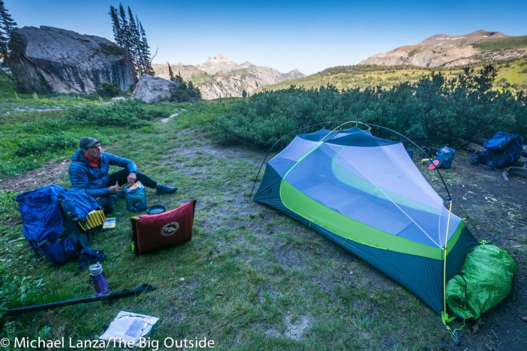 A backpacker at a campsite on the Teton Crest Trail in Grand Teton National Park.