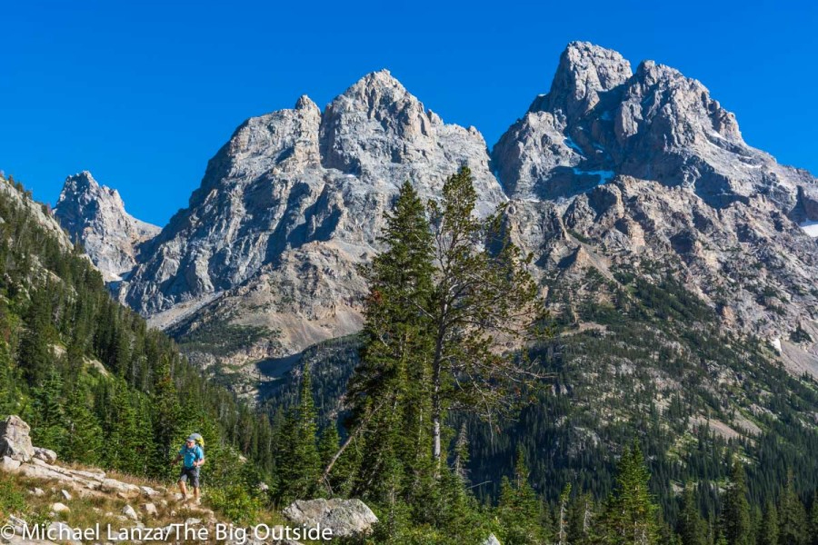 A backpacker on the Teton Crest Trail in the North Fork Cascade Canyon, Grand Teton National Park.