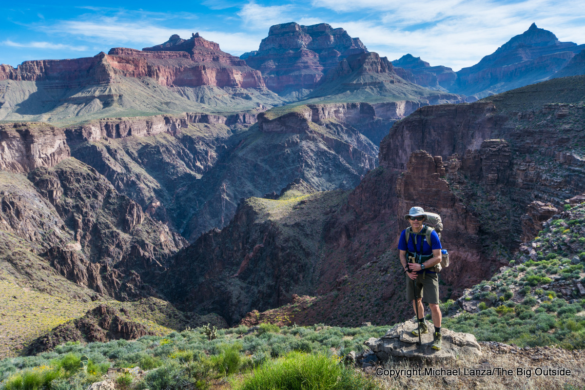 Michael Lanza of The Big Outside on the Tonto Trail in the Grand Canyon.