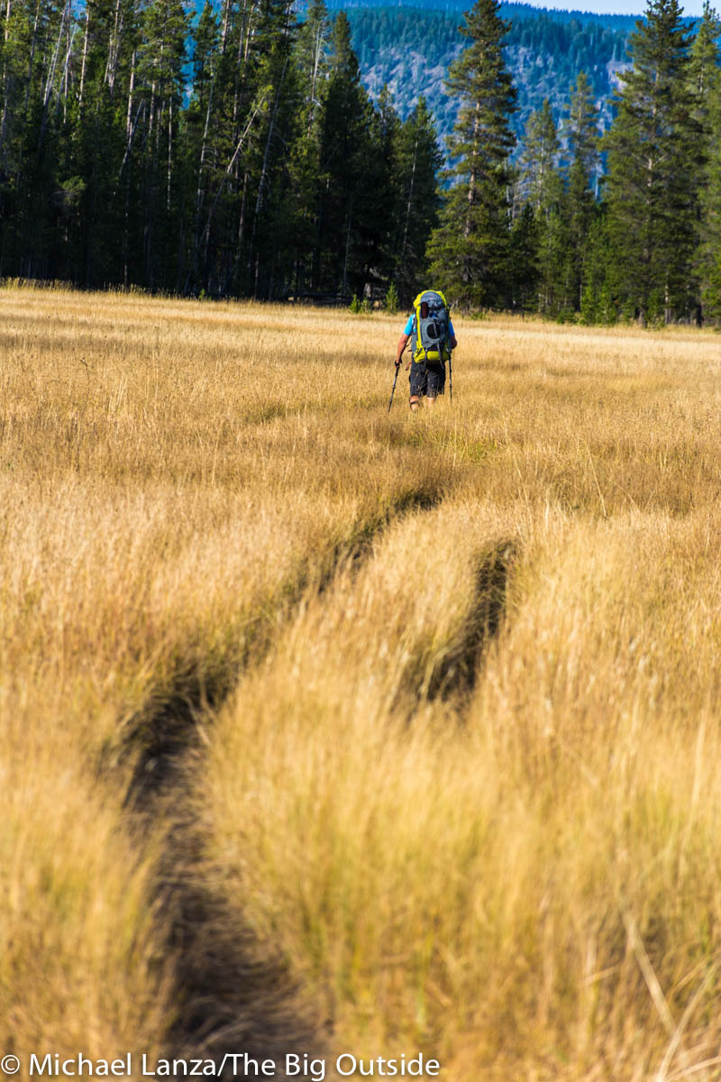 A backpacker hiking through Bechler Meadows, Yellowstone National Park.