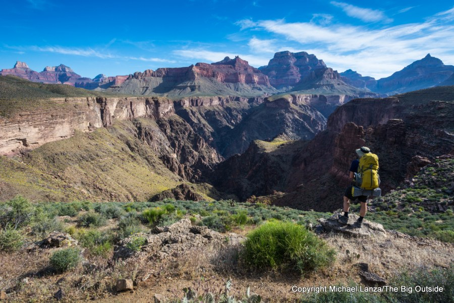 A backpacker on the Tonto Trail, Grand Canyon.