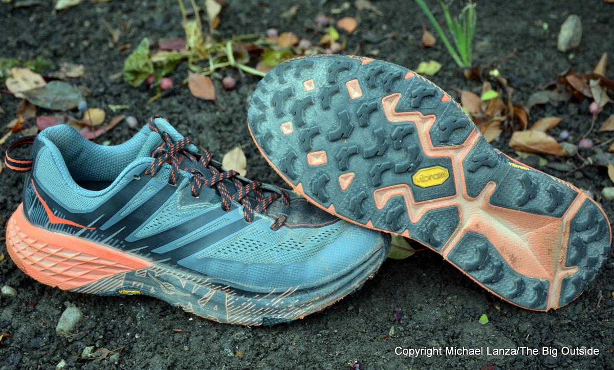 Hoka One One Speedgoat 3 trail-running shoes.