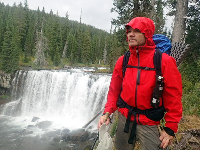 Testing the REI Drypoint GTX Jacket in Yellowstone's Bechler Canyon.