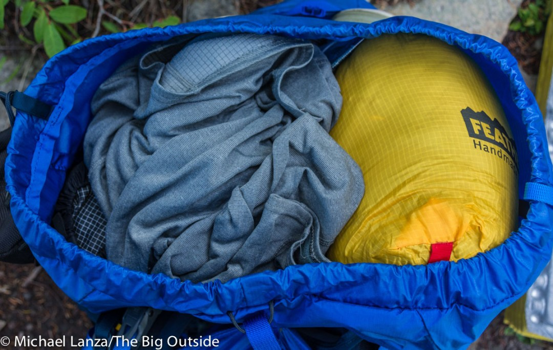The North Face Banchee 50 main compartment, open.