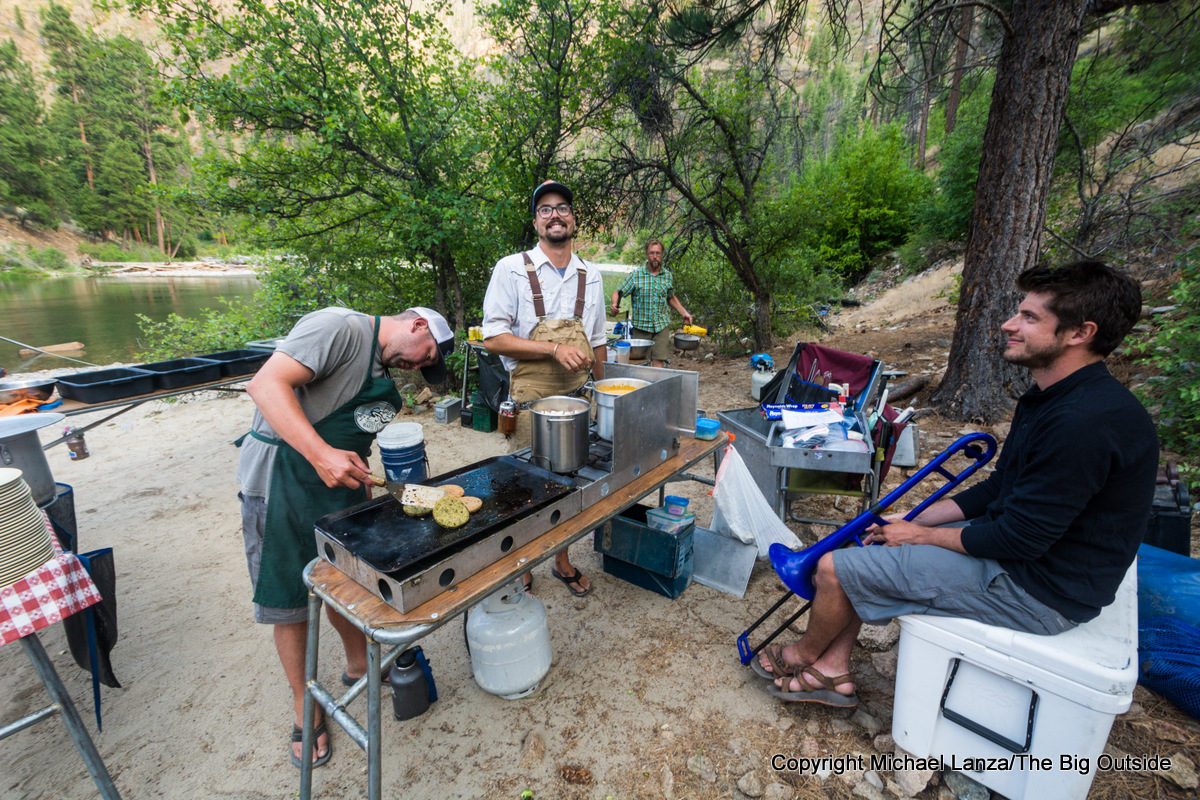 MFRT guides in Whitie Cox camp on Idaho's Middle Fork Salmon River.