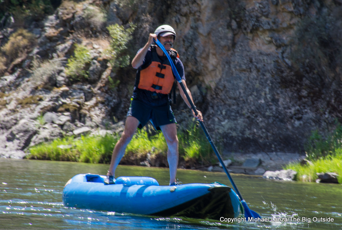 Stand-up paddling a ducky in Idaho's Middle Fork Salmon River.