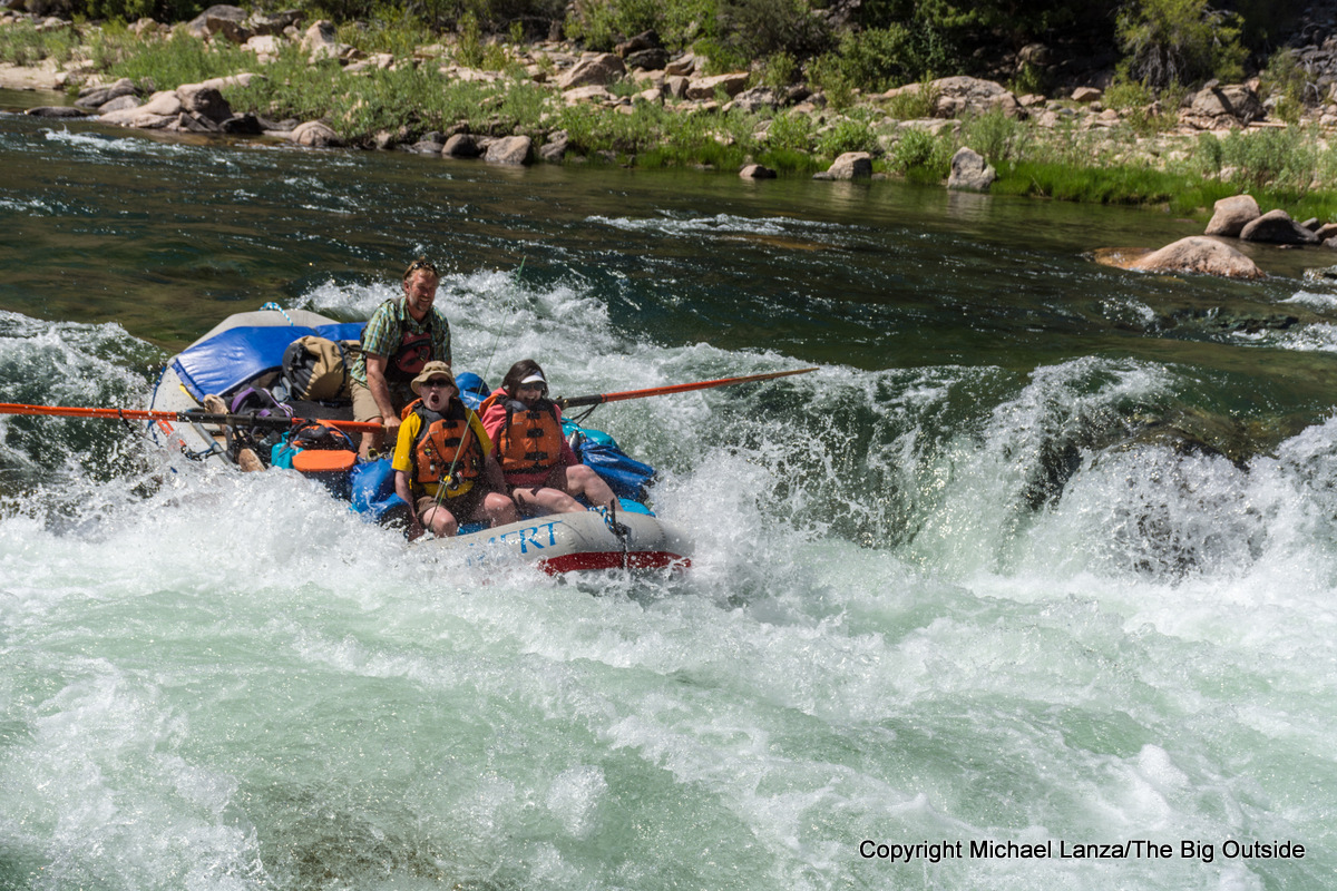 A raft running Tappan Falls in Idaho's Middle Fork Salmon River.