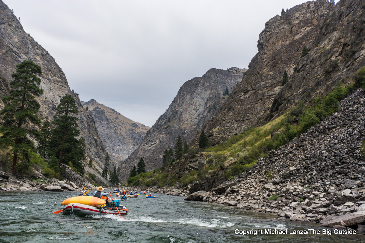 Rafters in the Impassable Canyon, Middle Fork Salmon River, Idaho.