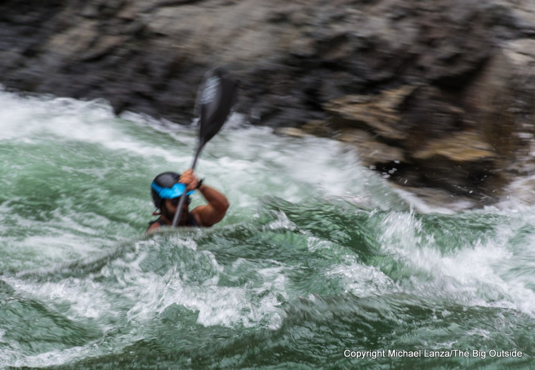 A kayaker deep in Cliffside Rapid on Idaho's Middle Fork Salmon River.