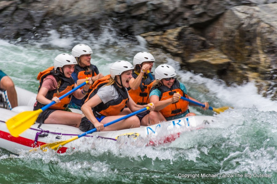 Whitewater rafters in Cliffside Rapid, Middle Fork Salmon River, Idaho.