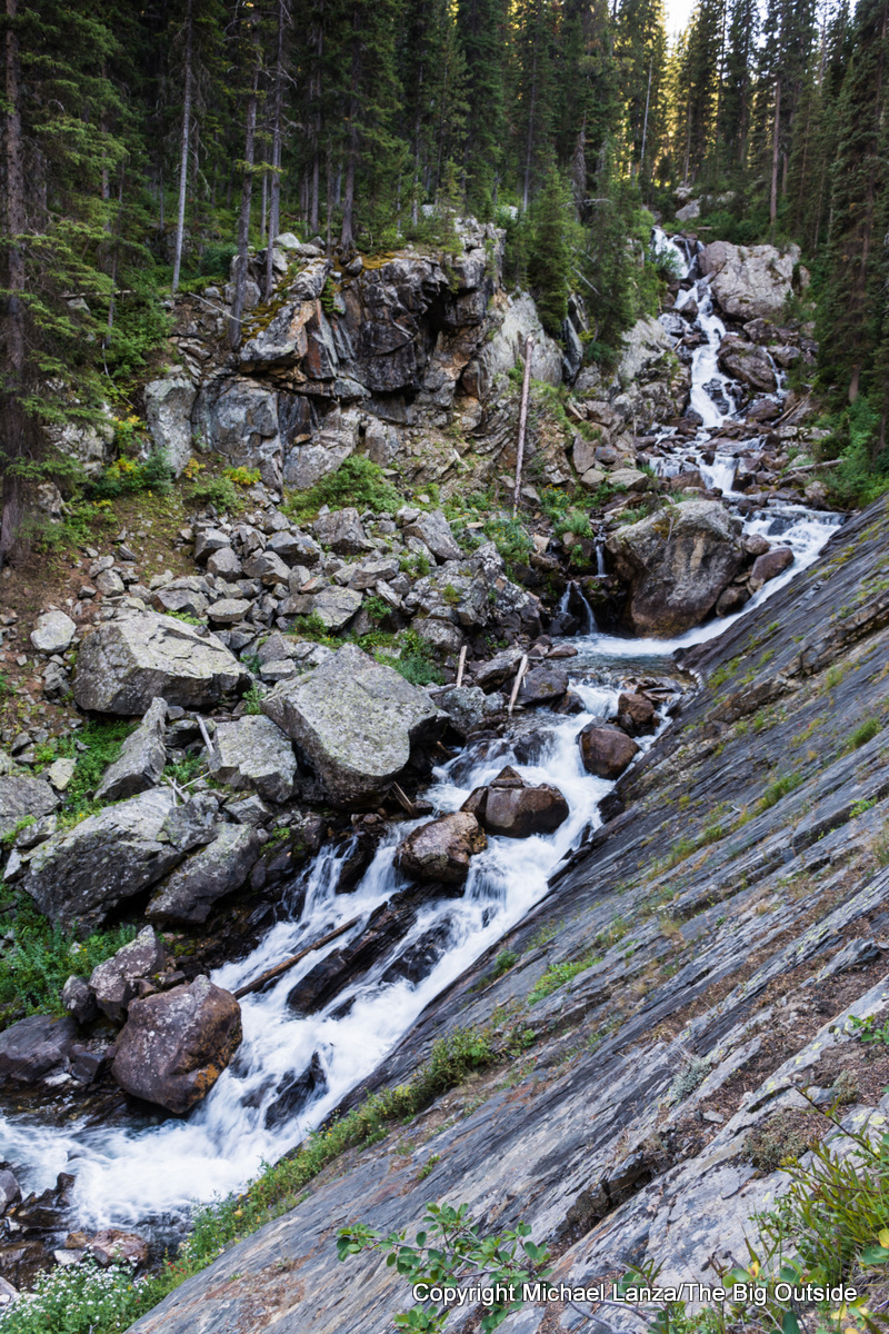 A cascade along the Teton Crest Trail, South Fork Cascade Canyon, Grand Teton National Park.