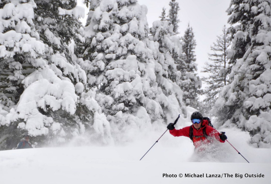 A backcountry skier in Idaho's Boise Mountains.
