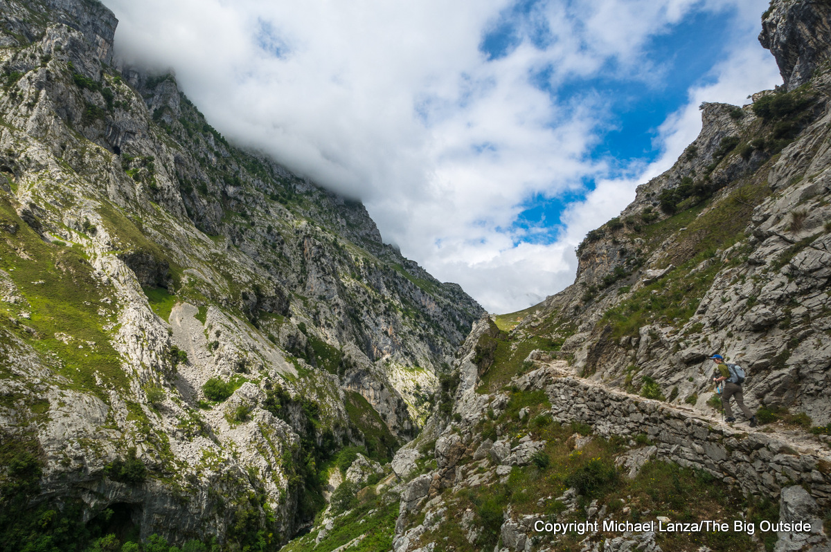 A hiker in the Cares Gorge, Picos de Europa National Park, Spain.