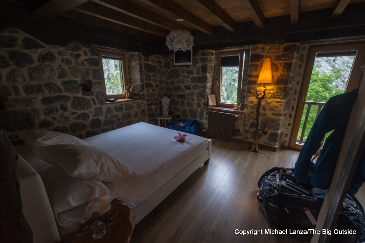 A bedroom in the Casa Maru B&B in Camarmeña, Spain, on the edge of Picos de Europa National Park.