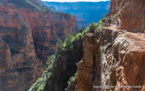 A hiker on the Grand Canyon's North Kaibab Trail.
